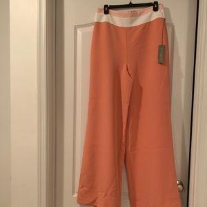 Eva Mendes wide leg size 8. Coral w/ white band,